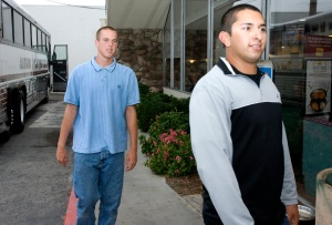 Brad Napier, 18 of Lompoc and Johnny Carillo, 19, of Mission Viejo are Marine Corp recruits lining up for their last civilian meal at the Denny\'s on Avenida Pico in San Clemente on Monday evening.