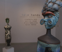 "Irvine Valley College presents a contemporary sculptural show by 4 artists through October 17th, including ""Africanus"" by Patrick Crabb(foreground)."